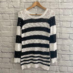 LE CHATEAU Black White Knit Sequin Sweater